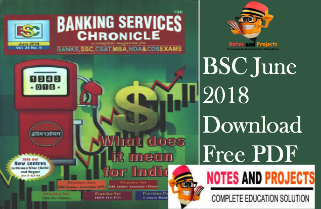 BSC Magazine For Current Affairs June-2018 In English-Banking