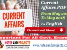 Current Affairs PDF 2018 In English