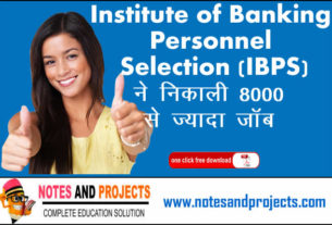 Institute of Banking Personnel Selection (IBPS)  ने निकाली 8000 से ज्यादा Jobs