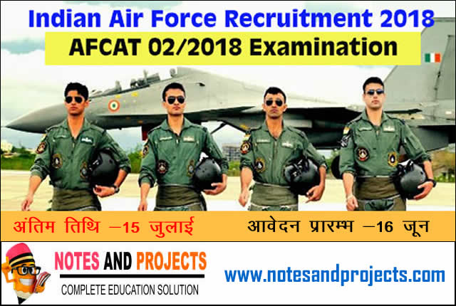 Indian Airforce AFCAT 02/2018/2019