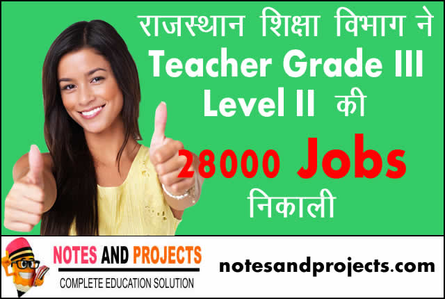 Rajasthan Education Department Teacher Grade III Level II Vacancy