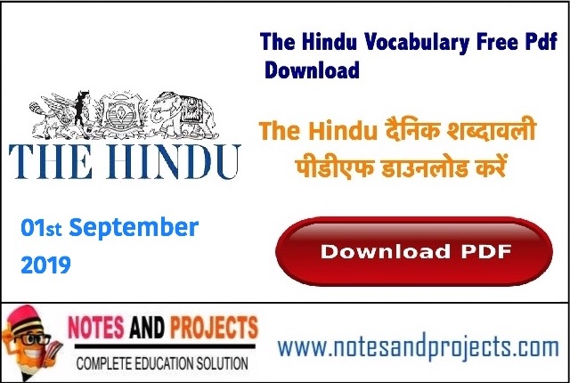The Hindu Daily Vocabulary Free Pdf Download@notesandprojects.com